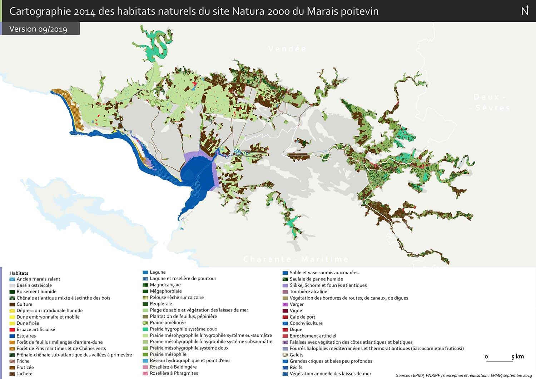 Carte des habitats du Marais poitevin