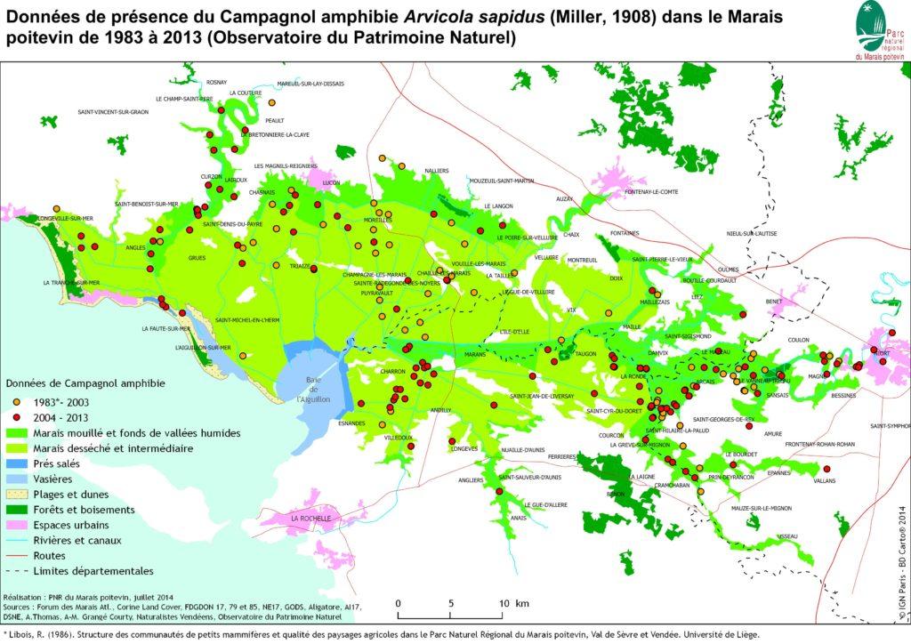 Carte répartition du Campagnol amphibie