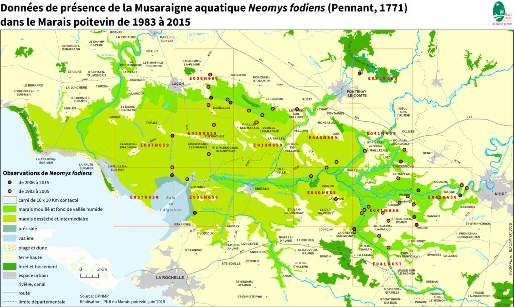 carte de répartition de la Musaraigne aquatique