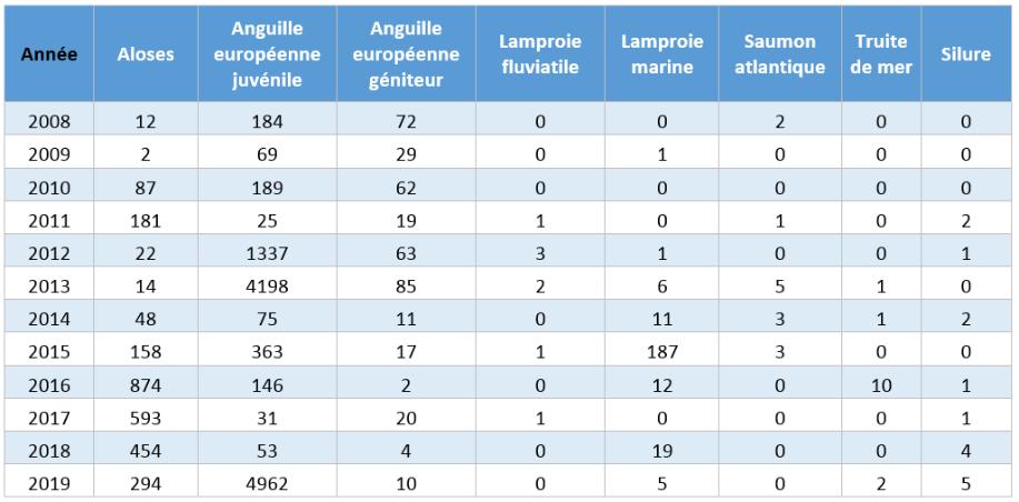 Résultats des comptage poissons depuis 2008